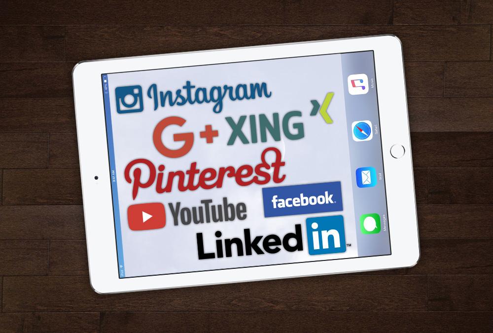 Logos verschiedenster Social-Media Anbieter